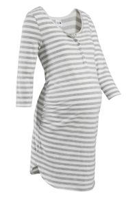 Koszula nocna do karmienia, bawełna organiczna bonprix jasnoszary melanż - biel wełny w paski