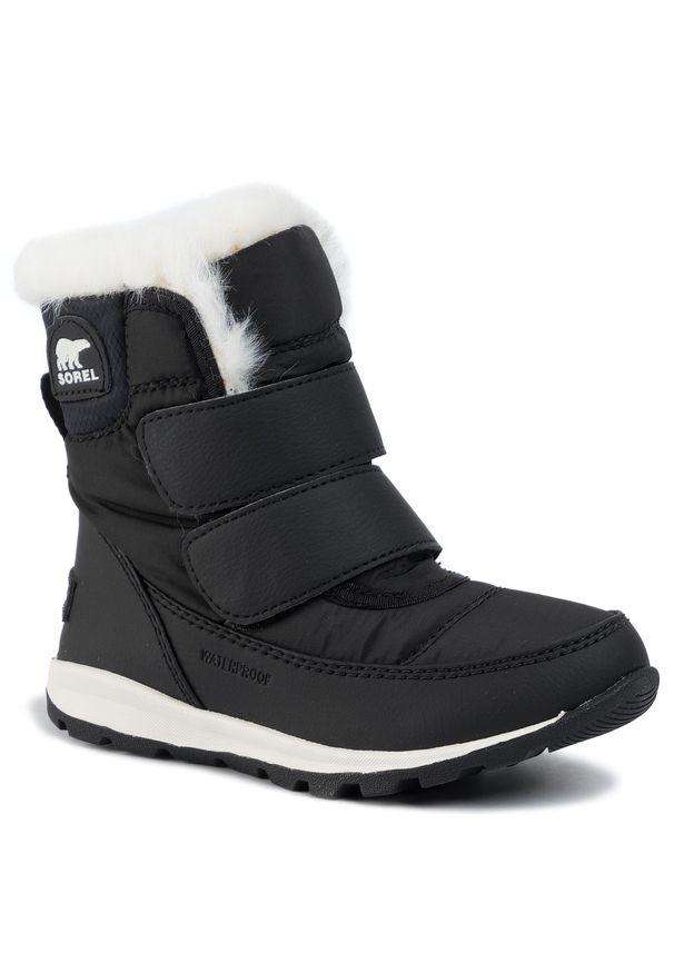 Czarne śniegowce sorel na spacer, z cholewką