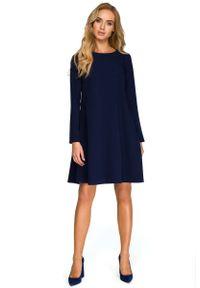 MOE - Granatowa Wizytowa Trapezowa Sukienka z Szyfonową Wstawką. Kolor: niebieski. Materiał: szyfon. Typ sukienki: trapezowe. Styl: wizytowy