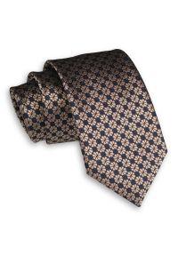 Alties - Beżowo-Granatowy Elegancki Męski Krawat -ALTIES- 7 cm, Klasyczny, w Kwiaty. Kolor: niebieski, beżowy, brązowy, wielokolorowy. Materiał: tkanina. Wzór: kwiaty. Styl: klasyczny, elegancki
