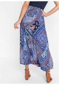 Spódnica kopertowa bonprix niebiesko-brązowy wzorzysty. Kolor: niebieski. Długość: długie #3