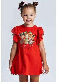 Czerwona sukienka Mayoral mini, z aplikacjami, rozkloszowana