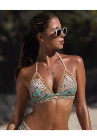 DEL MAAR - Top od bikini Lamara. Kolor: beżowy. Materiał: materiał. Wzór: paski, kolorowy, haft, gładki