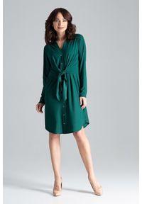Lenitif - Sukienka koszulowa szmizjerka z wiązaniem w pasie. Okazja: do pracy. Typ sukienki: koszulowe, szmizjerki. Styl: elegancki