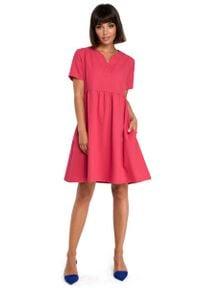 MOE - Różowa Rozkloszowana Sukienka Mini Odcinana pod Biustem. Kolor: różowy. Materiał: len, poliester. Długość: mini