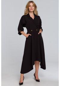 e-margeritka - Sukienka rozkloszowana midi elegancka czarna - s. Kolor: czarny. Materiał: tkanina, poliester, materiał, elastan. Wzór: gładki. Typ sukienki: asymetryczne, kopertowe, rozkloszowane. Styl: elegancki. Długość: midi