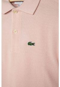 Różowy t-shirt polo Lacoste gładki, casualowy, na co dzień