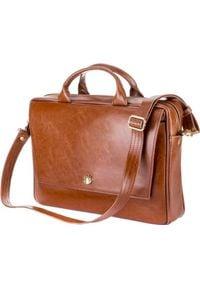 Torba Felice Skórzana torba aktówka damska na laptopa FELICE brązowa. Kolor: brązowy. Materiał: skóra