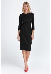 Nife - Prosta Sukienka z Rękawem 3/4 - Czarna. Kolor: czarny. Materiał: wiskoza, poliester. Typ sukienki: proste
