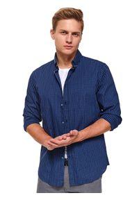 Niebieska koszula TOP SECRET długa, z klasycznym kołnierzykiem