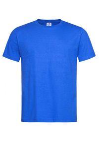 Niebieski t-shirt Stedman casualowy, na co dzień, z krótkim rękawem, krótki