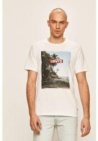 Biały t-shirt Levi's® casualowy, na spotkanie biznesowe, z nadrukiem
