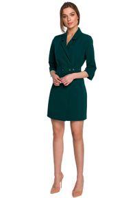 MOE - Dwurzędowa Żakietowa Sukienka z Paskiem - Zielona. Kolor: zielony. Materiał: wiskoza, poliester, elastan