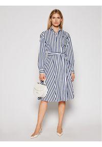 Niebieska sukienka Polo Ralph Lauren koszulowa, w kolorowe wzory, polo