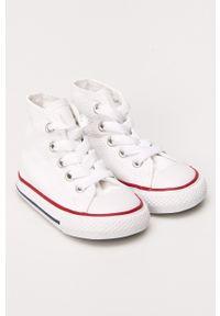 Białe trampki Converse z okrągłym noskiem, z cholewką