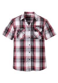 Koszula z krótkim rękawem Slim Fit bonprix czarno-biało-ciemnoczerwony w kratę. Kolor: biały. Długość rękawa: krótki rękaw. Długość: krótkie
