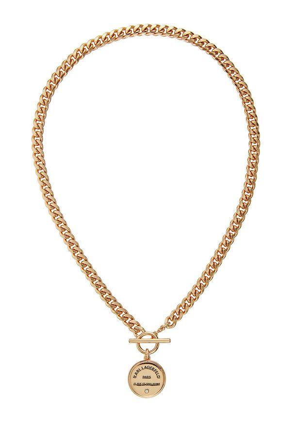 Złoty naszyjnik Karl Lagerfeld z kryształem, z mosiądzu