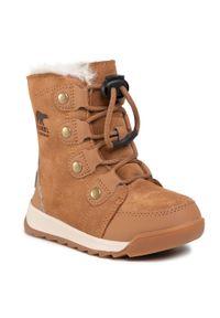 Brązowe buty zimowe sorel na spacer, z cholewką