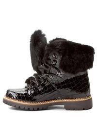 Czarne botki New Italia Shoes na obcasie, na średnim obcasie, z cholewką, z aplikacjami
