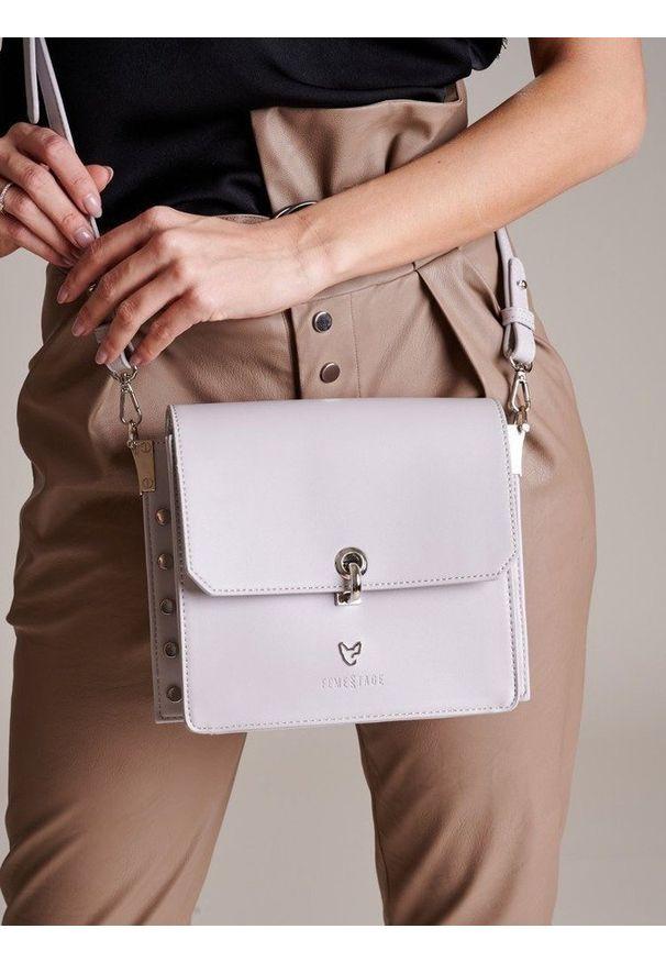 Szara torebka FEMESTAGE Eva Minge zdobiona, z aplikacjami, elegancka