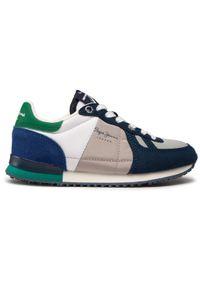 Pepe Jeans - Sneakersy PEPE JEANS - Sydney Basic Boy PBS30486 Navy 595. Okazja: na uczelnię, na spacer, na co dzień. Kolor: niebieski. Materiał: materiał. Szerokość cholewki: normalna. Styl: casual
