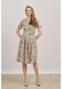 Marie Zélie - Sukienka Elina Lumna – bawełna care. Materiał: bawełna. Długość rękawa: krótki rękaw. Typ sukienki: rozkloszowane. Styl: klasyczny