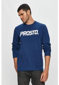 Niebieska bluza nierozpinana Prosto. z aplikacjami, casualowa, z okrągłym kołnierzem