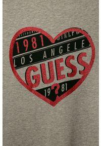 Szara bluzka z krótkim rękawem Guess Jeans z nadrukiem, na co dzień, casualowa