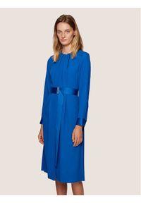 Niebieska sukienka koktajlowa BOSS wizytowa