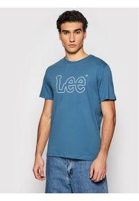 Lee T-Shirt Wobbly Logo Tee L65QAIQO Granatowy Regular Fit. Kolor: niebieski