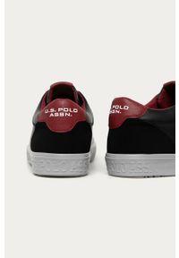 Czarne sneakersy U.S. Polo Assn z okrągłym noskiem, z cholewką, na sznurówki