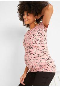 Shirt ciążowy i do karmienia piersią, bawełna organiczna bonprix w paski zebry. Kolekcja: moda ciążowa. Kolor: różowy. Materiał: bawełna. Wzór: motyw zwierzęcy, paski