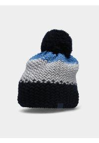 4f - Czapka zimowa z opaską polarową chłopięca. Kolor: niebieski. Materiał: polar. Sezon: zima