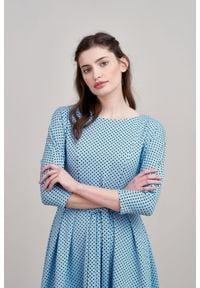 Marie Zélie - Sukienka Anastazja błękitna w kropeczki 46 niebieski. Kolor: niebieski. Materiał: materiał, bawełna, dzianina, skóra, elastan. Typ sukienki: rozkloszowane. Styl: klasyczny