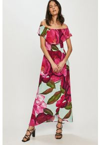 Desigual - Sukienka. Typ kołnierza: dekolt hiszpanka. Materiał: tkanina. Typ sukienki: rozkloszowane
