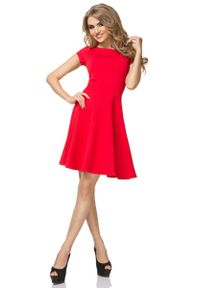 Tessita - Czerwona Sukienka Klasyczna Rozkloszowana z Mini Rękawkiem. Kolor: czerwony. Materiał: bawełna, poliester, elastan. Długość rękawa: krótki rękaw. Styl: klasyczny. Długość: mini