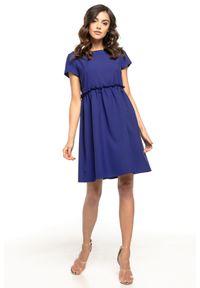 Niebieska sukienka wizytowa Tessita mini, z krótkim rękawem