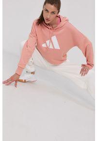 adidas Performance - Bluza. Kolor: pomarańczowy. Materiał: dzianina, materiał. Długość rękawa: długi rękaw. Długość: długie. Wzór: nadruk