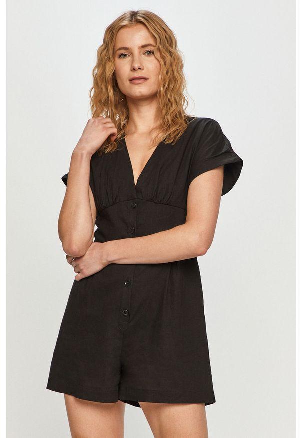Czarny kombinezon Pepe Jeans na co dzień, gładki, z krótkim rękawem, casualowy