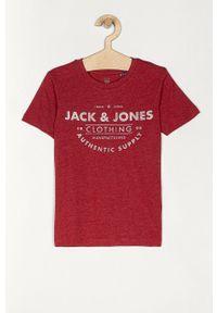 Czerwony t-shirt Jack & Jones casualowy, na co dzień, z nadrukiem
