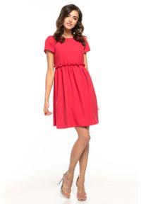 Tessita - Malinowa Lekka Zwiewna Sukienka z Mini Rękawkiem. Kolor: różowy. Materiał: poliester, elastan. Długość rękawa: krótki rękaw. Długość: mini