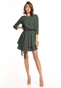 Tessita - Sukienka z Rozkloszowanym Podwójnym Dołem - Khaki. Kolor: brązowy. Materiał: poliester, elastan