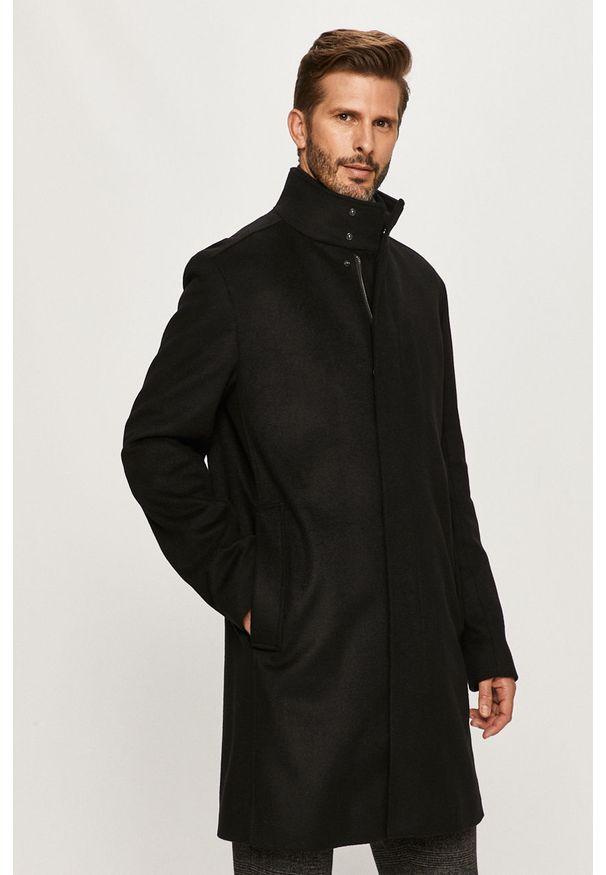Czarny płaszcz Hugo bez kaptura, casualowy, na co dzień
