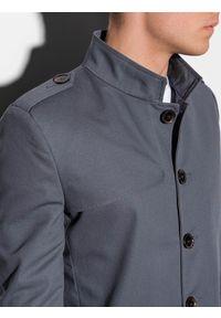 Szary płaszcz Ombre Clothing na wiosnę, ze stójką, elegancki #7