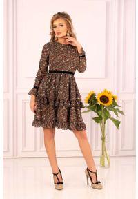 Merribel - Ultrakobieca Sukienka Ozdobiona Kwiatowymi Bukietami. Materiał: poliester. Wzór: kwiaty, aplikacja