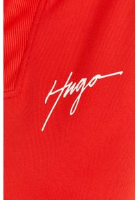 Czerwona bluza rozpinana Hugo bez kaptura, casualowa, z nadrukiem, na co dzień