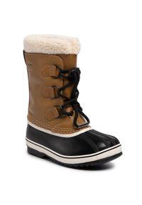 Brązowe śniegowce sorel na spacer, z cholewką