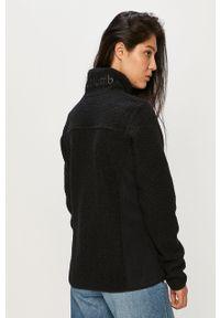 Czarna bluza rozpinana columbia z aplikacjami, bez kaptura, na co dzień, casualowa