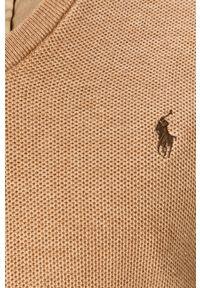 Beżowy sweter Polo Ralph Lauren na co dzień, z długim rękawem, casualowy, polo