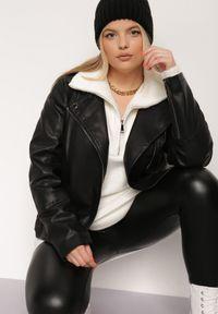 Renee - Czarna Ramoneska Lamomont. Kolor: czarny. Materiał: tkanina. Długość: długie. Wzór: aplikacja. Styl: klasyczny